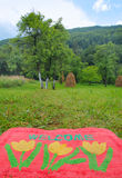 Welcome Mat. Photo of a welcome mat in front of a green meadow Stock Images