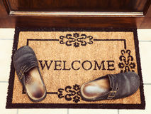 Welcome Mat at Door Royalty Free Stock Image