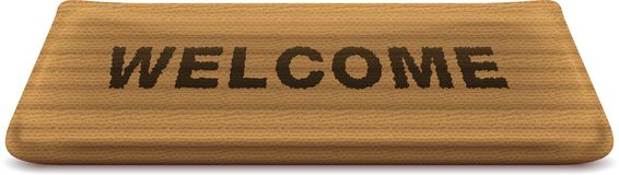 Welcome mat. Doormat with the text welcome on it. Illustration contain transparencies and is saved as Illustrator 10 format Stock Illustration