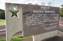 Welcome message on the entrance of Parque das Nacoes Indigenas Royalty Free Stock Image