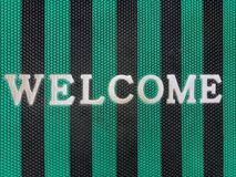 Welcome message at the fabric stock image