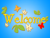 Welcome Message Shows Contact Arrival And Invitation Royalty Free Stock Photos