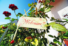 Welcome message wooden Stock Photos