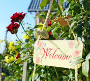 Welcome message wooden Stock Images