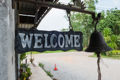 """""""welcome"""" metal label and old style, vintage tone Royalty Free Stock Images"""