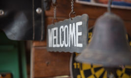 """welcome"" metal label and old style, vintage tone. Royalty Free Stock Photo"
