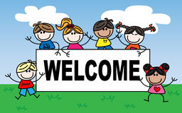 Welcome mixed ethnic children Royalty Free Stock Photos