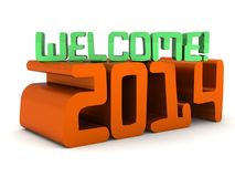 Welcome 2014 modern computer lettering. An illustration of a Welcome 2014 modern computer lettering on a white  background Stock Image