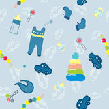 Welcome new baby boy. Seamless pattern Royalty Free Stock Images