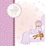 Welcome new baby girl. Welcome baby announcement card Stock Images