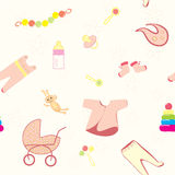 Welcome new baby girl. Seamless pattern Royalty Free Stock Photo