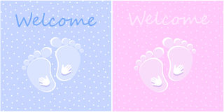 Welcome new born baby. Simple cards pink blue Royalty Free Stock Images