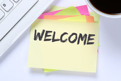 Welcome new employee colleague refugees refugee immigrants compu Royalty Free Stock Photo