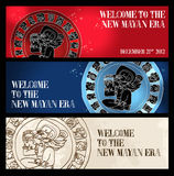 Welcome new Mayan era banner. Welcome to the new Mayan age banner set. Vector illustration layered for easy manipulation and custom coloring Stock Photos