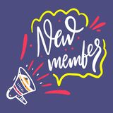 Welcome New Member. Hand drawn vector lettering. Isolated on blue background. royalty free illustration