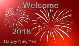 Welcome New Year 2018. Illustration of Happy New Year 2018 celebration, abstract starburst, Seasons greetings background with fireworks Royalty Free Stock Image
