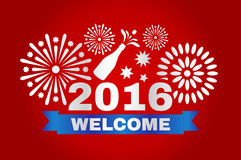Welcome new year 2016. Inscription and fireworks in vector illustration Stock Photography