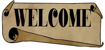 WELCOME on old rolled paper Stock Image