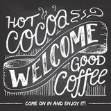 Welcome we are open chalkboard sign Royalty Free Stock Photography