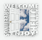 Welcome Open Door Hello Friendly Service Guest Invitation Words Royalty Free Stock Image