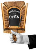 Welcome it is Open - Sign with Hand of Waiter Royalty Free Stock Photo