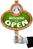 Welcome it is Open - Sign with Hand of Waiter stock illustration