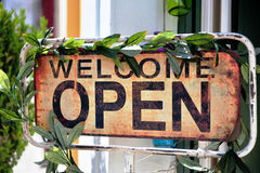 Welcome open sign in street cafe Royalty Free Stock Image