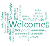 Welcome. Phrase in different languages. Vector words cloud concept Stock Photos