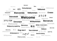 Welcome phrase in different languages of the world. Isolated on white background Stock Images