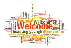 Welcome phrase words cloud concept. Welcome phrase in 78 different languages. Words cloud concept vector illustration