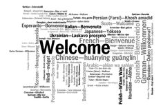 Welcome phrase words cloud concept. Welcome phrase in 78 different languages. Words cloud concept royalty free illustration