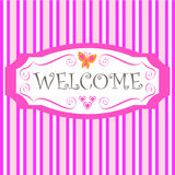Welcome. Pink stripes background and welcome in a frame Stock Photography