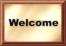 Welcome Plaque. Computer generated brass Welcome plaque on wooden panel vector illustration