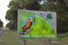 Welcome plate to San Rossore Regional Park. Tuscany, Italy. Royalty Free Stock Photo