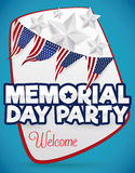 Welcome Poster for Memorial Day Party, Vector Illustration Stock Photos