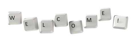 Welcome Qwerty. The word \Welcome!\ located on the keys of computer keyboards. On a white background Royalty Free Stock Photos