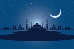 Welcome Ramadan mosque and Vector crafted design. Islamic Calligraphy of shiny text Ramadan Kareem or Ramadan with silhouette of Mosque or Masjid in moon light Royalty Free Stock Images
