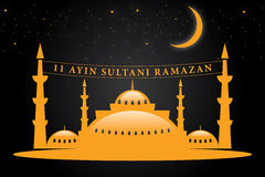 Welcome Ramadan mosque and Vector crafted design. Islamic Calligraphy of shiny text Ramadan Kareem or Ramadan with silhouette of Mosque or Masjid in moon light Stock Photography