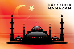 Welcome Ramadan mosque and Vector crafted design. Islamic Calligraphy of shiny text Ramadan Kareem or Ramadan with silhouette of Mosque or Masjid in moon light Stock Photos