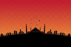 Welcome Ramadan mosque and Vector crafted design. Islamic Calligraphy of shiny text Ramadan Kareem or Ramadan with silhouette of Mosque or Masjid in moon light Stock Images