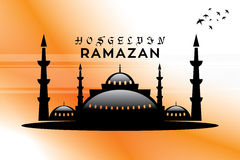 Welcome Ramadan mosque and Vector crafted design. Islamic Calligraphy of shiny text Ramadan Kareem or Ramadan with silhouette of Mosque or Masjid in moon light Stock Image
