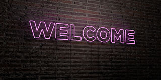 WELCOME -Realistic Neon Sign on Brick Wall background - 3D rendered royalty free stock image Royalty Free Stock Photo