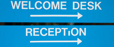 Welcome and Reception Sign Royalty Free Stock Photography