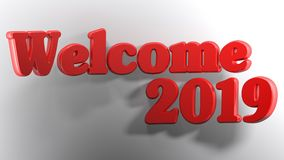 Welcome 2019 red - 3D rendering. The write Welcome 2019 is bent over a white surface - 3D rendering Royalty Free Stock Image