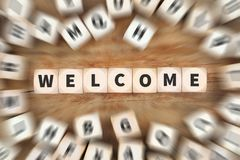 Welcome refugees refugee customer customers immigrants dice busi. Ness concept idea Royalty Free Stock Photo