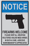 Welcome reminder for owners of firearms. For offices and educational institutions Stock Photo