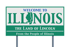 Welcome road sign of the state of Illinois Royalty Free Stock Image