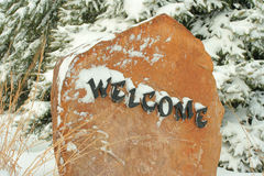 Welcome rock. At entrance to Bottle Creek Retreat, Beatrice, Nebraska Royalty Free Stock Photos