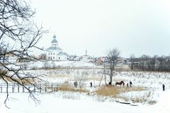 Church of Saints Peter and Paul at Suzdal in winter. Russia royalty free stock photography
