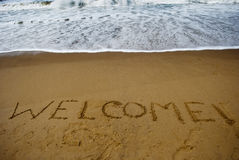 Welcome on sandy beach Royalty Free Stock Images